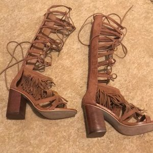 Brown heel sandals size 6.5